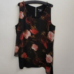 Lane Bryant sleveless black blouse with flowers